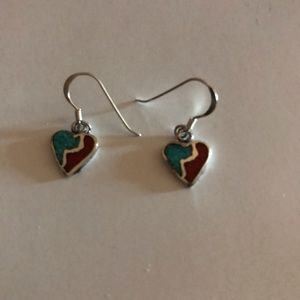 Jewelry - Native American Turquoise and Coral  Earrings